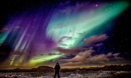 The Aurora Borealis or Northern Lights in Iceland.