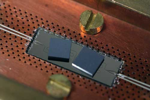 Two black diamonds on a superconducting chip