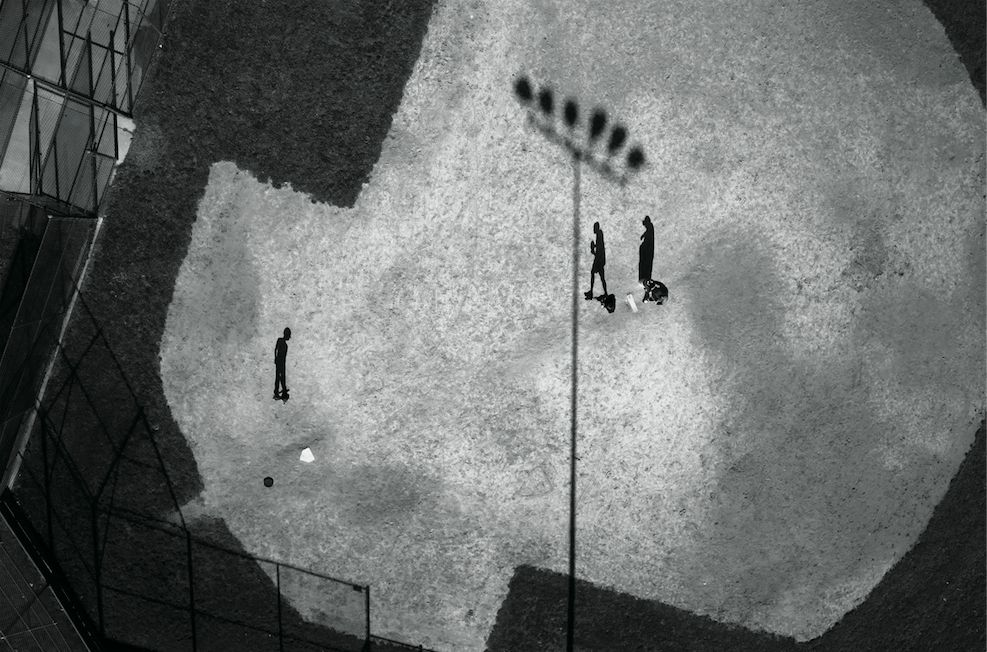"Photo: Tomas van Houtryve/VII. ""Baseball practice in Montgomery County, Maryland. According to records obtained from the FAA, which issued 1,428 domestic drone permits between 2007 and early 2013, the National Institute of Standards and Technology and the U.S. Navy have applied for drone authorization in Montgomery County."""
