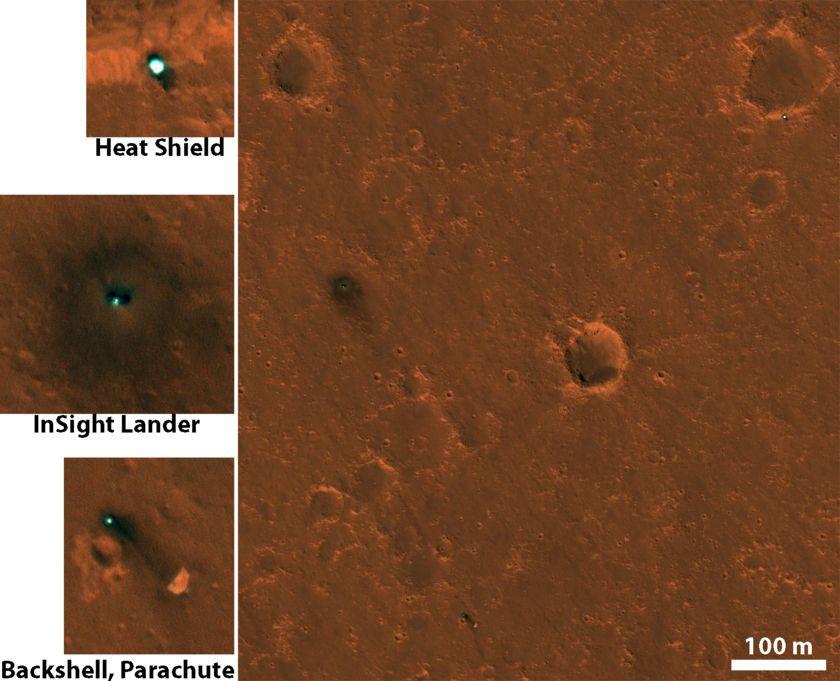HiRISE images of InSight hardware on Mars