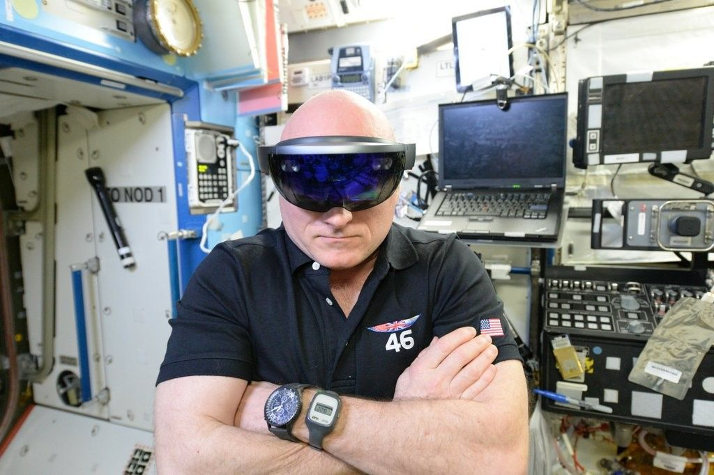 Scott Kelly using Microsoft HoloLens at the international space station.