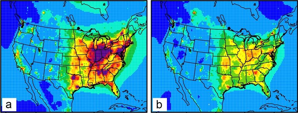 US ozone levels map highlighting highest levels