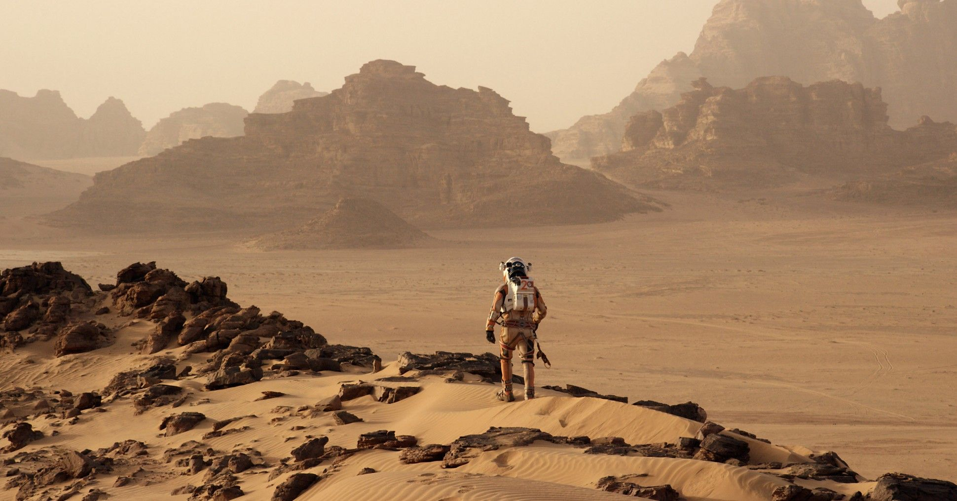 """Matt Damon stars as a NASA astronaut stranded on the Martian surface in the forthcoming film adaptation of Andy Weir's """"The Martian."""" Credit: Twentieth Century Fox."""
