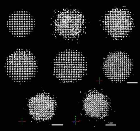 3D images of platinum particles between 2-3 nm in diameter shown rotating in liquid under an electron microscope