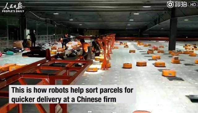 Self-charging robots sorting system helps Chinese delivery