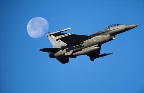 USAF Reserve F-16C takes off at Luke Air Force Base Arizona