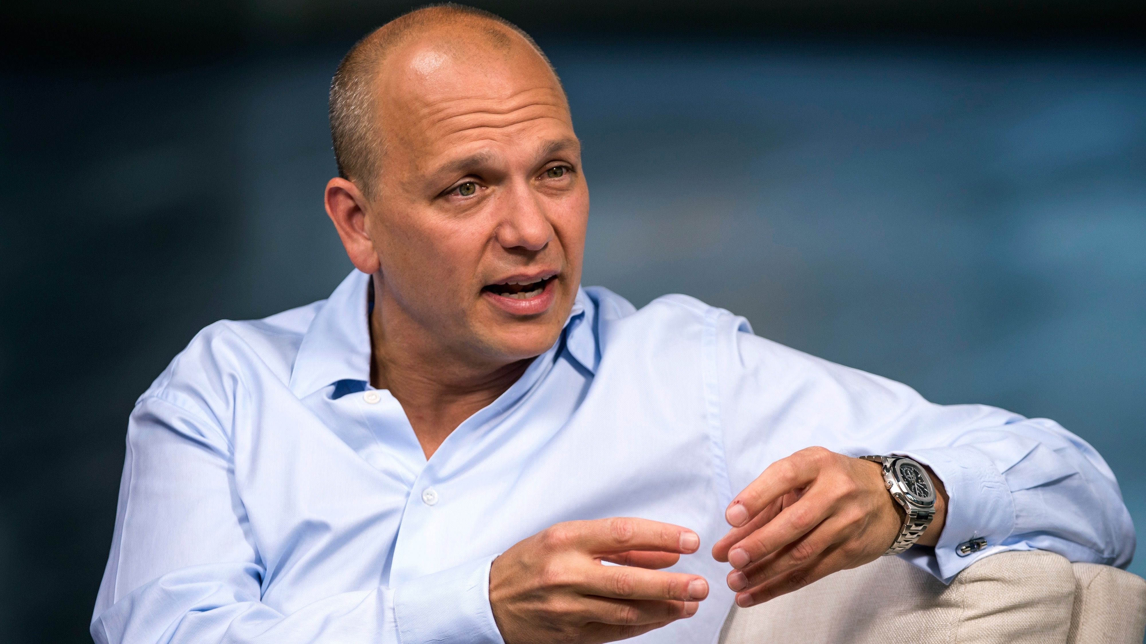 Tony Fadell, founder and chief executive officer of Nest Labs Inc., speaks during a Bloomberg Studio 1.0 interview in San Francisco, California, U.S., on Wednesday, July 29, 2015. Nest Labs Inc. designs and manufactures wifi enabled learning and programmable devices such as thermostats, smoke detectors and security cameras for the home. Photographer: David Paul Morris/Bloomberg  *** Local Caption *** Tony Fadell