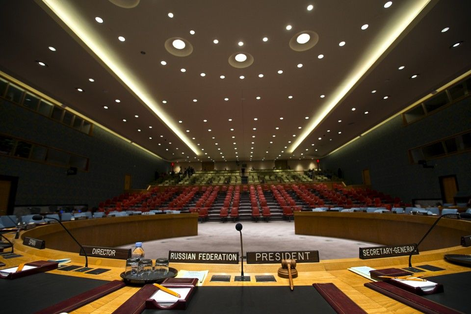 "The Security Council chamber is seen from behind the Council President's chair at the United Nations headquarters in New York City September 18, 2015. As leaders from almost 200 nations gather for the annual general assembly at the United Nations, the world body created 70 years ago, Reuters photographer Mike Segar documented quieter moments at the famed 18-acre headquarters on Manhattan's East Side. The U.N., established as the successor to the failed League of Nations after World War Two to prevent a similar conflict from occurring again, attracts more than a million visitors every year to its iconic New York site. The marathon of speeches and meetings this year will address issues from the migrant crisis in Europe to climate change and the fight against terrorism. REUTERS/Mike Segar TPX IMAGES OF THE DAYPICTURE 20 OF 30 FOR WIDER IMAGE STORY ""INSIDE THE UNITED NATIONS HEADQUARTERS""SEARCH ""INSIDE UN"" FOR ALL IMAGES       TPX IMAGES OF THE DAY      - RTX1SAQB"